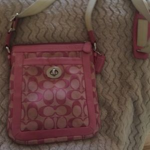 Pink over the shoulder coach purse